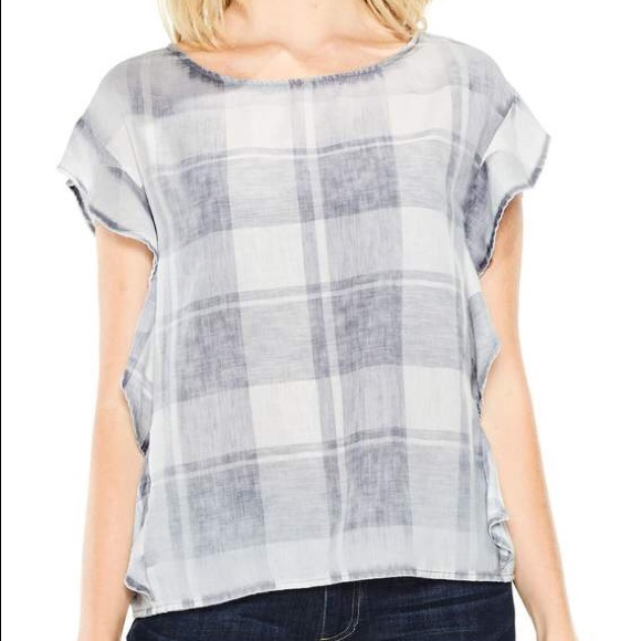 d35b0b8c2237b Two by Vince Camuto Tops | Vince Camuto Plaid Rufflesleeve Top ...
